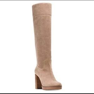 Michael Kors Regina Knee High Suede Boots - Beige